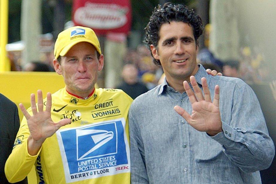 Lance Armstrong et Miguel Indurain au Tour de... (Photo: AP)