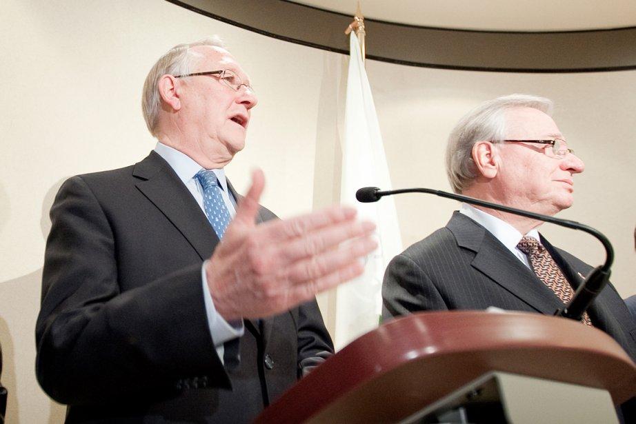 Gérald Tremblay et Gilles Vaillancourt.... (PHOTO MARCO CAMPANOZZI, ARCHIVES LA PRESSE)