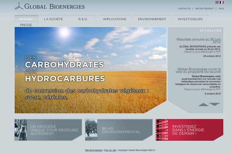 La page d'accueil du site web deGlobal Bioenergies....