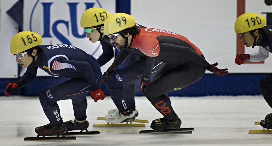 Yoon-Gy Kwak (Corée médaillé d'or et champion du monde), Charles Hamelin (CAN) , Jinkyu Noh (Corée) et J