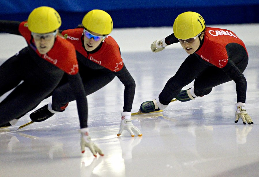 Jessica Gregg, Marianne St-Gelais et Caroline Truchon, finale du 500m. | 28 octobre 2012