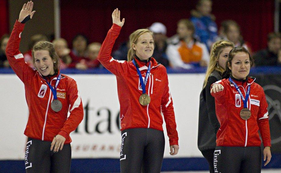 Jessica Gregg (or), Marianne St-Gelais (argent) et Caroline Truchon (bronze). | 28 octobre 2012