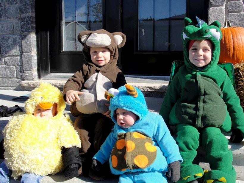 Voilà un quatuor à qui il serait bien difficile de refuser des bonbons! Il s'agit de Félix-Olivier, Charles-Émile, Jérôme et William, petits-fils de Louise et Richard Savard, de Québec. Ils ont entre sept mois et deux ans et demi. | 29 octobre 2012