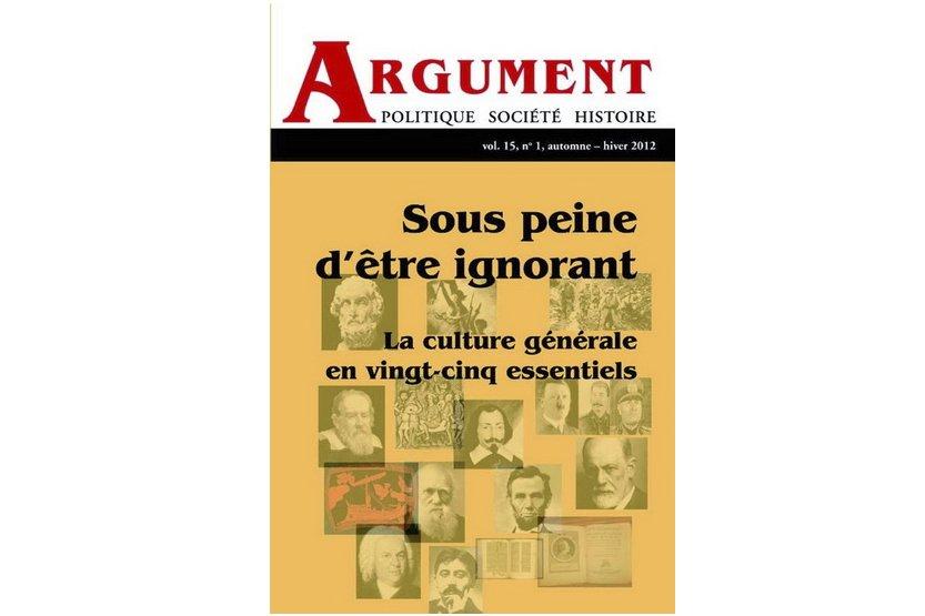 La culture générale est le thème du numéro spécial de la revue Argument, qui...