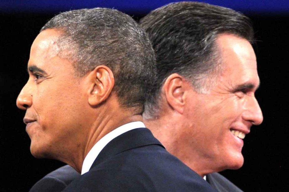 Barack Obama et Mitt Romney après le dernier... (AFP)