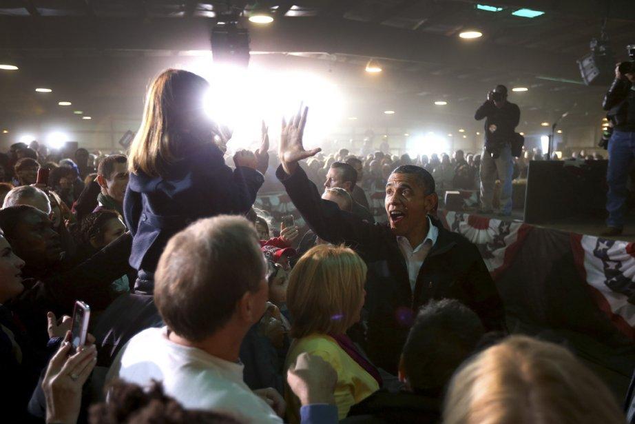 Le président Obama devant des partisans réunis à... (Photo : Doug Mills, The New York Times)