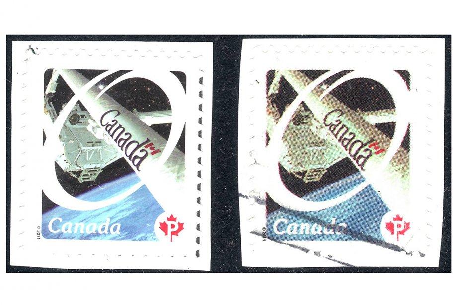 Un timbre contrefait (à droite) à côté d'un... (Photo: fournie par Richard Gratton)