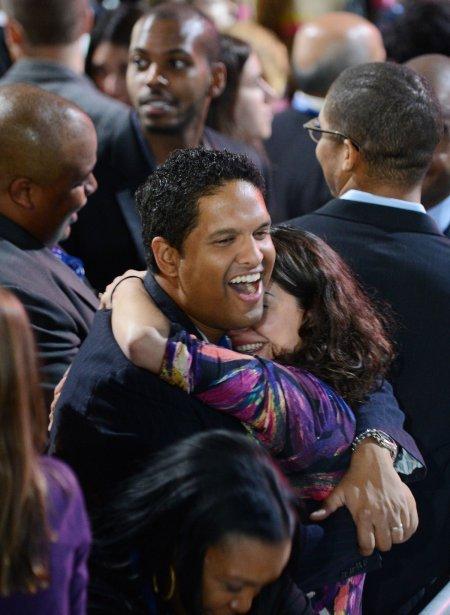 Les électeurs démocrates partagent leur joie. | 6 novembre 2012