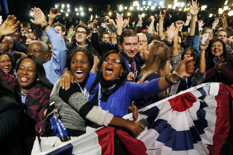 Des partisans d'Obama célèbrent à Chicago.... (Photo: Reuters)