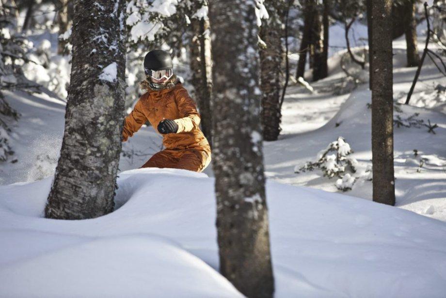 Planche à neige dans les sous-bois à la... (Photo fournie par la station touristique Stoneham.)