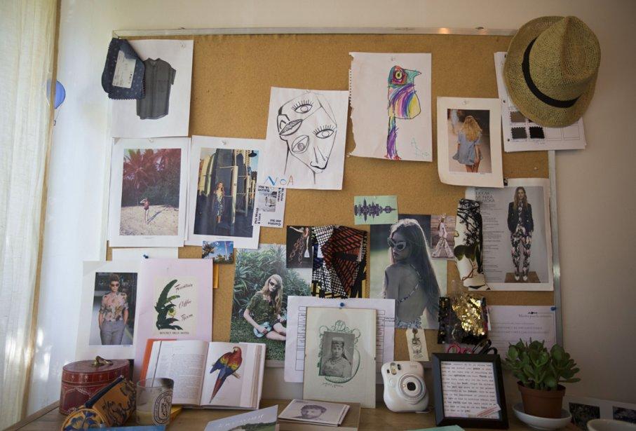 L?un des «moodboards» de Sabrina, sur lequel sont regroupées ses principales inspirations: dessins d?enfants et images exotiques, bouts de tissus... | 7 novembre 2012