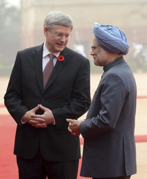 Stephen Harper et le premier ministre indien Manmohan Singh. | 8 novembre 2012
