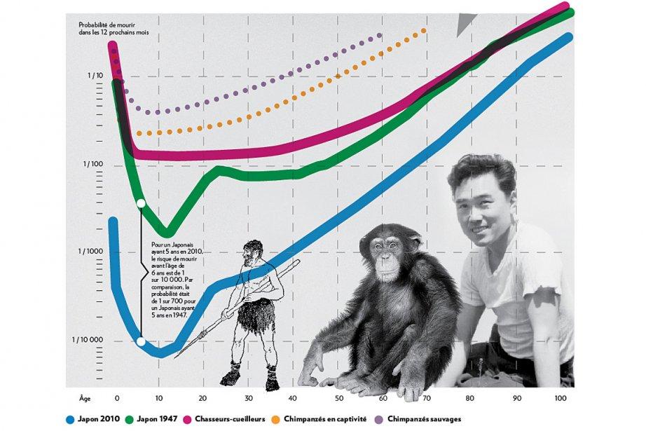 Ce graphique logarithmique indique la probabilité de mourir...