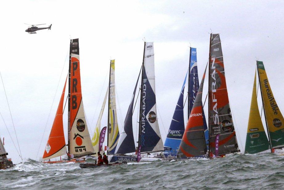 Quelques-uns des voiliers au départ du Vendée Globe,... (Photo: AFP)