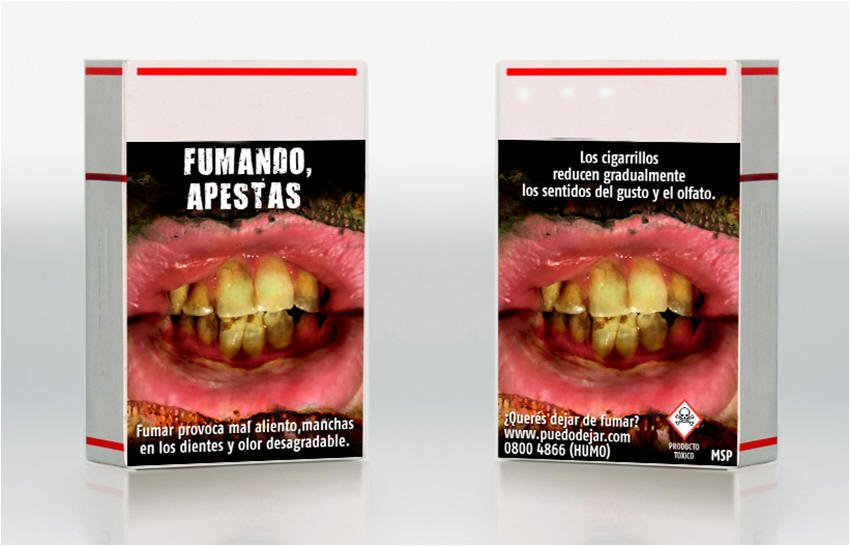 Depuis 2006, l?Uruguay oblige les compagnies de tabac à mettre des mises en garde illustrées sur les paquets de cigarettes. La superficie de ces mises en garde est de 80% à l?avant et à l?arrière du paquet. | 15 novembre 2012
