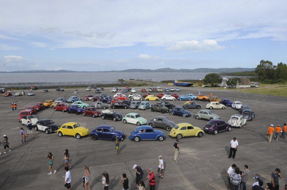 Quelque 200 propriétaires sud-américains de «Coccinelle» ont marqué le 18 novembre, à Laguna del Sauce, en Uruguay, le 50e anniversaire de la Beetle de Volkswagen. Certains d'entre eux ont formé le logo de la compagnie de véhicules (photo). | 19 novembre 2012