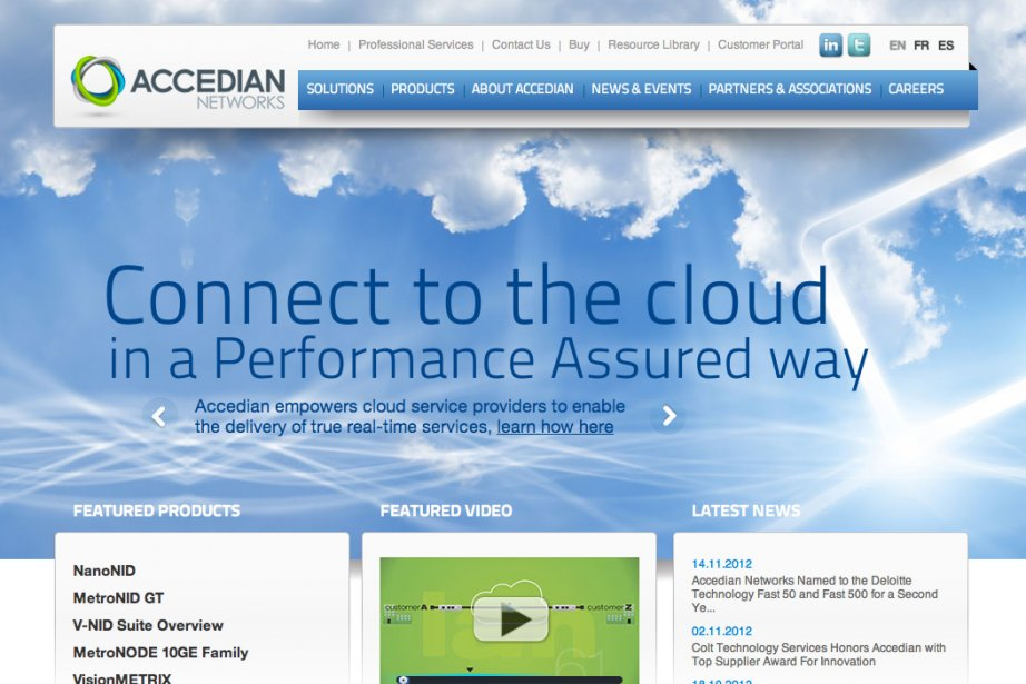 La page d'asccueil du site internet d'Accedian Network....