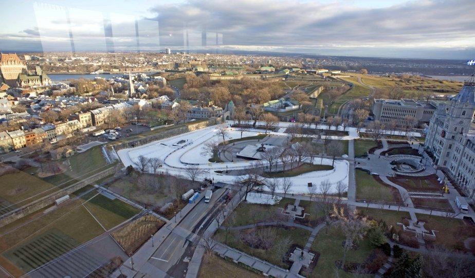 Un point de vue privilégié sur le parcours de ski de fond Sprint Québec, qui serpente sur la colline parlementaire à Québec. Les compétitions se dérouleront du 7 au 9 décembre. | 6 décembre 2012