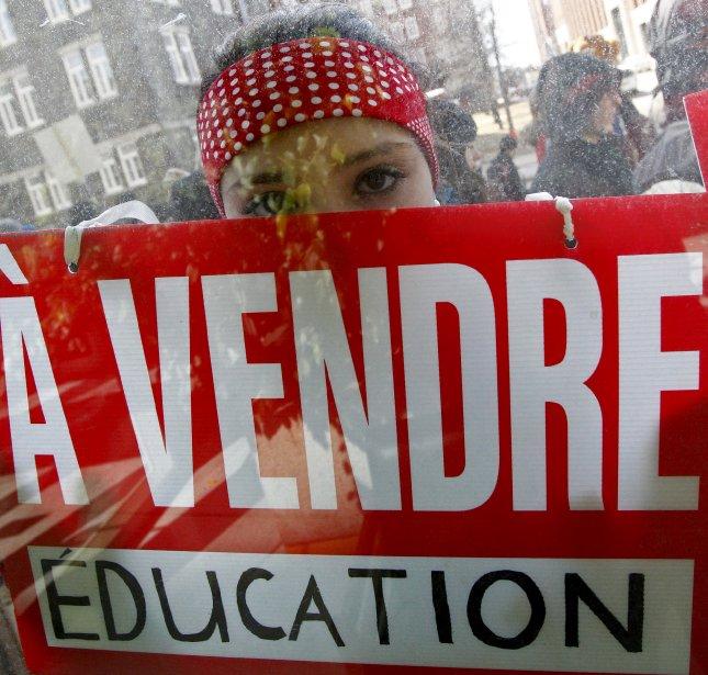 Illustration du désaccord des étudiants avec la vision de l'éducation du gouvernement Charest | 19 décembre 2012