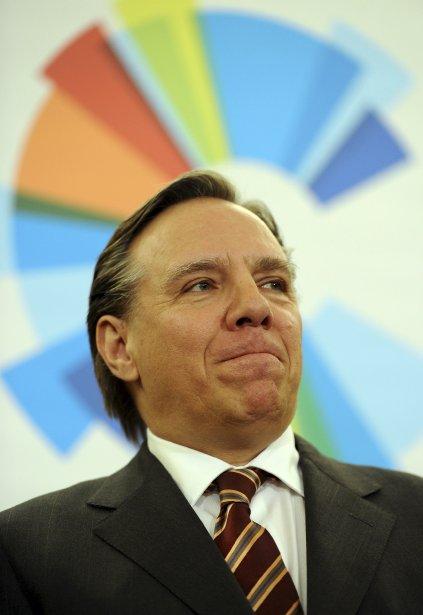 Le logo de la Coalition avenir Québec auréolant le chef François Legault | 20 décembre 2012