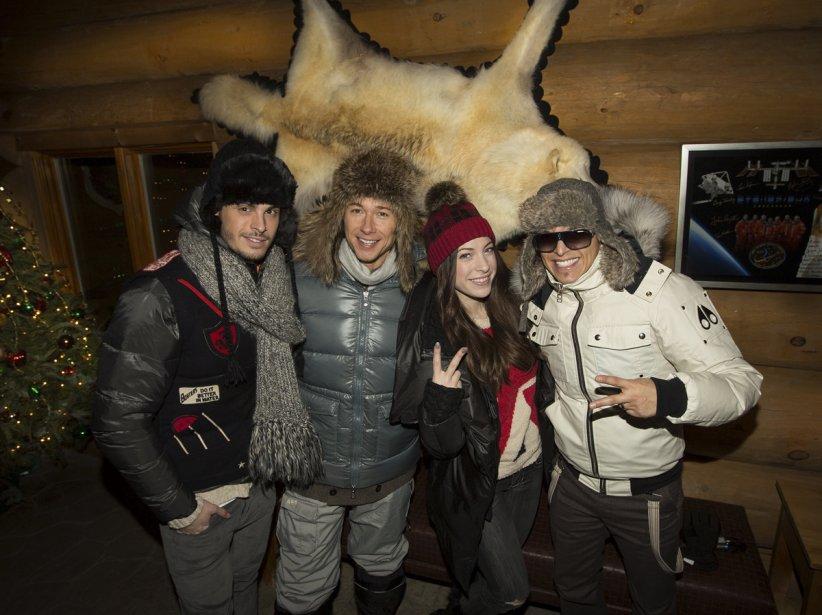 Baptiste Giabiconi, Stéphane Rousseau, Marie-Mai et Rachid Badouri ont participé à Soir de fête au Québec à l'hôtel Sacacomie. | 21 décembre 2012