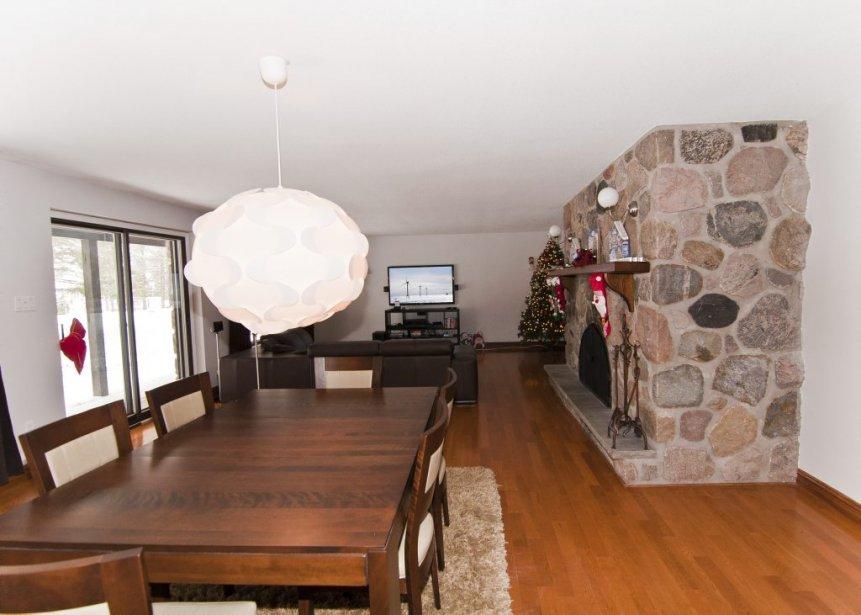 Salon et salle à manger sont aménagés près d'une imposante cheminée. | 21 décembre 2012