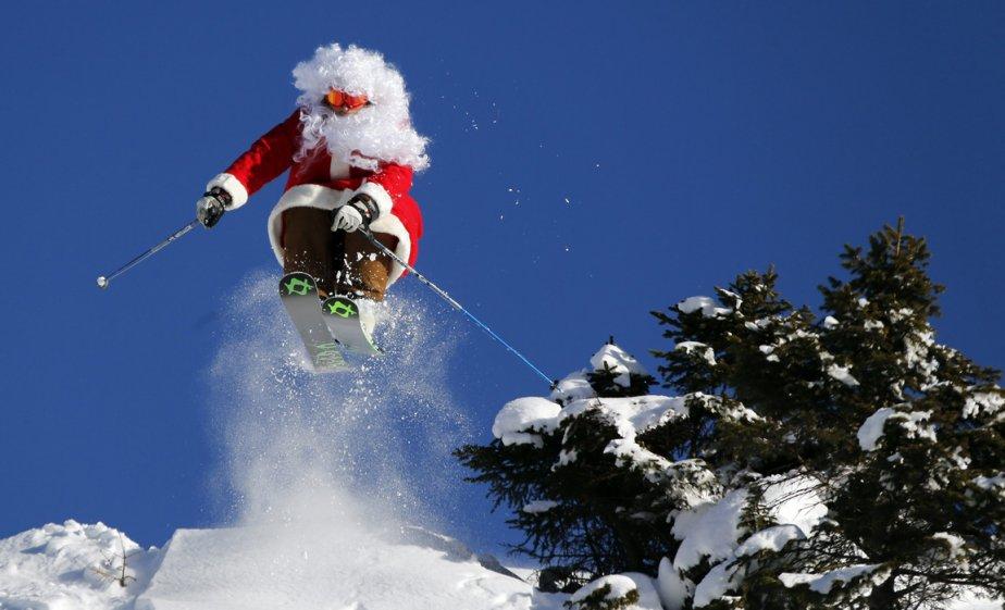 Alberto Ronchi déguisé en père Noël à Madonna di Campiglio. | 21 décembre 2012