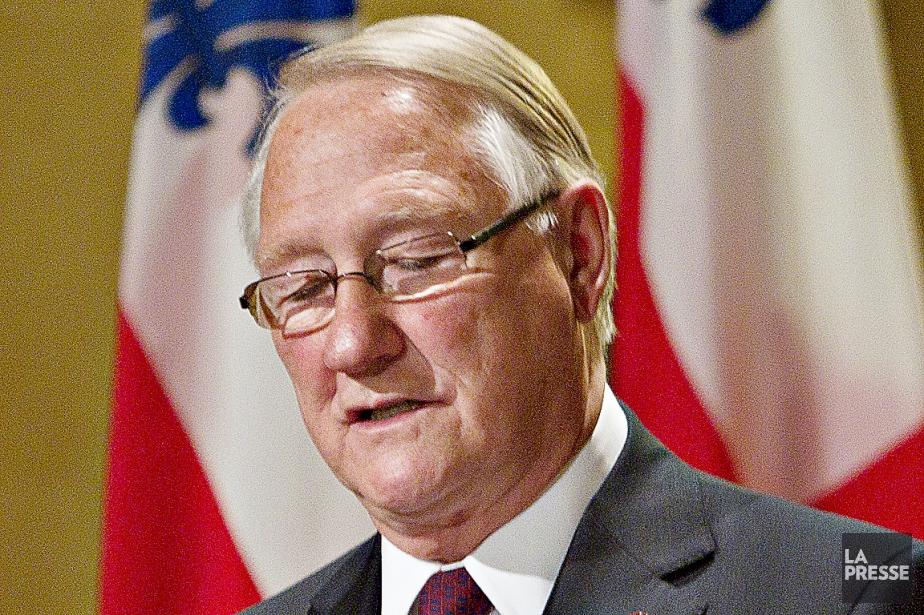 Gérald Tremblay lors de sa démission commemaire de... (Photo archives La Presse)