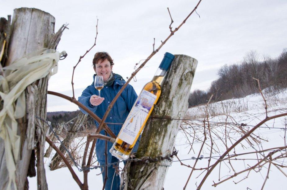 Photo de Nadège Marion, propriétaire du vignoble Les Trois Clochers, à Dunham. J'aime cette photo non seulement pour son côté artistique, mais aussi parce qu'elle souligne le travail acharné des vignerons de la région qui mettent tant d'efforts et de coeur dans leurs produits tout en tentant de se tailler une place sur les tablettes de la SAQ. | 3 janvier 2013