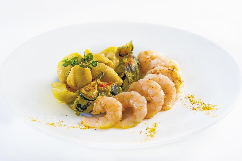 Le chef français Guy Martin, étoilé Michelin, a conçu un menu pour la classe Affaires d'Air France. Ici, crevettes sautées. | 7 janvier 2013