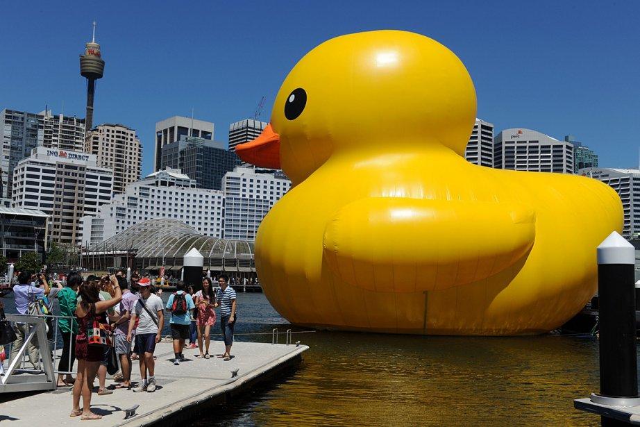 Un canard géant pour adultes? Un peu... Mais celui-ci, une oeuvre de l'artiste néerlandais Florentijn Hofman, servira à l'ouverture du festival annuel des arts de Sydney. | 7 janvier 2013