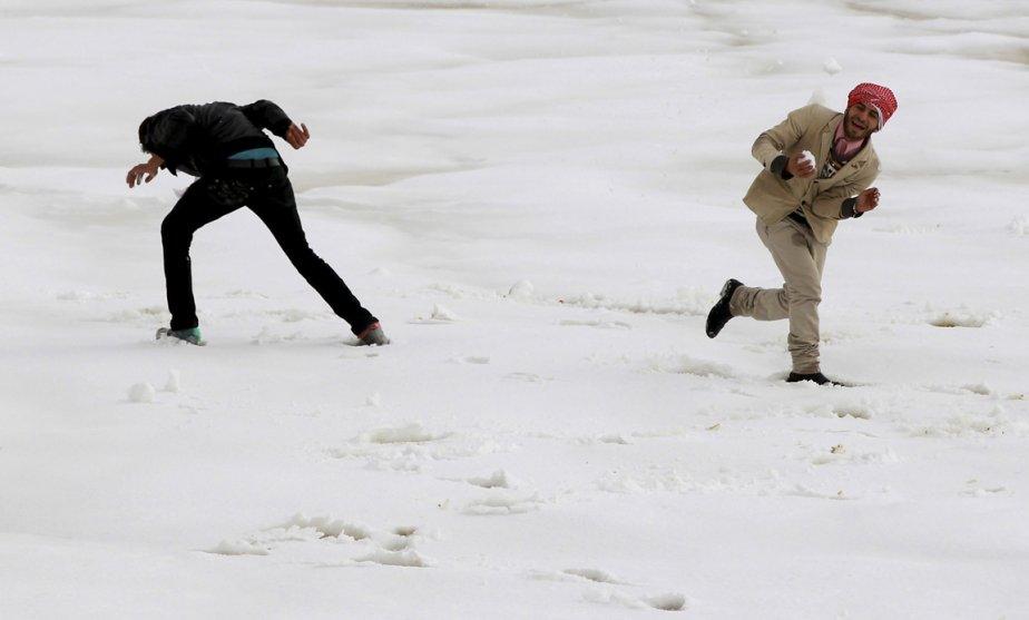 Bataille de balles de neige à Amman en Jordanie | 9 janvier 2013