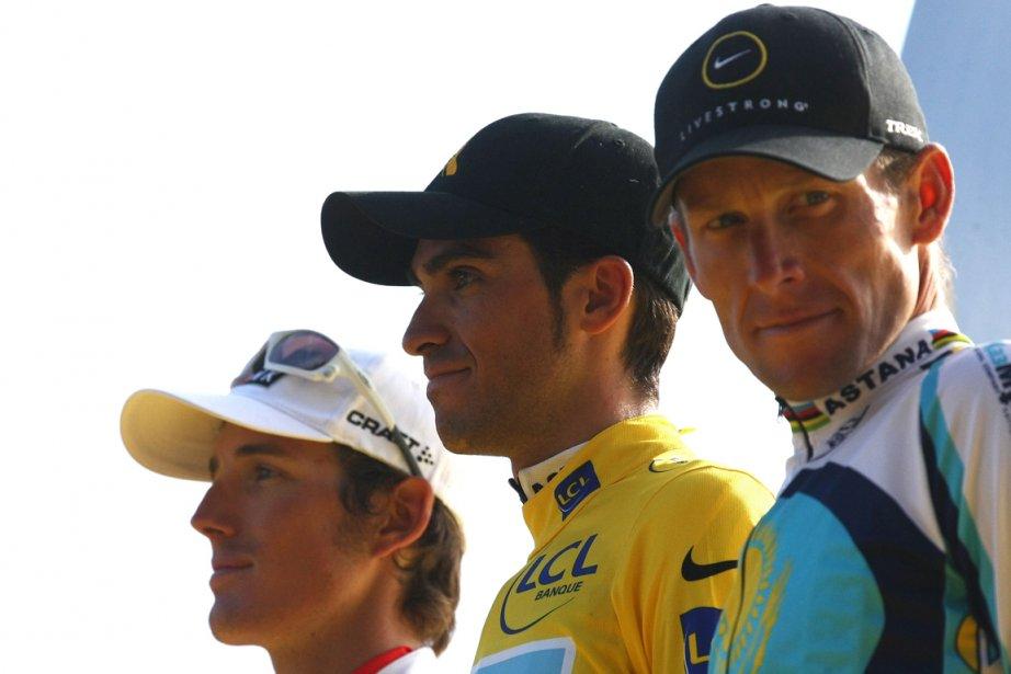 Andy Schleck, Alberto Contador et Lance Armstrong sur... (Photo: AFP)