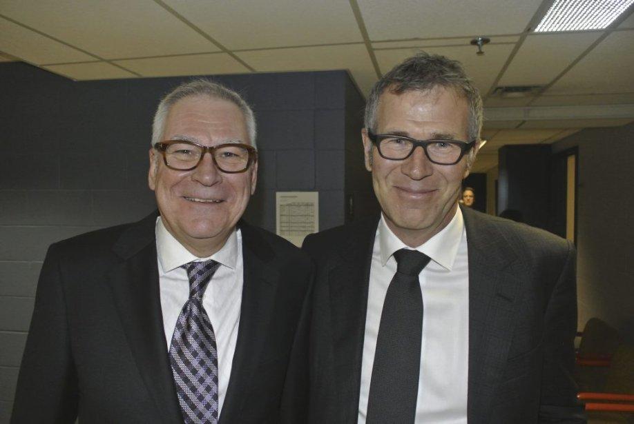 Louis Lalande, vice-président principal des Services français de CBC/Radio-Canada et Guy Crevier, président et éditeur de La Presse dans les coulisses de la soirée. | 18 janvier 2013