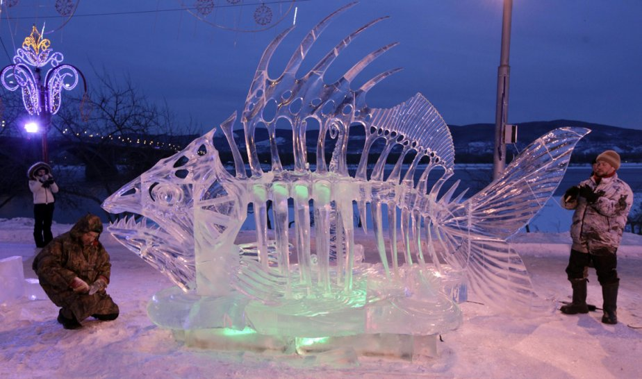 Sculpture de glace à Krasnoyarsk en Russie | 18 janvier 2013