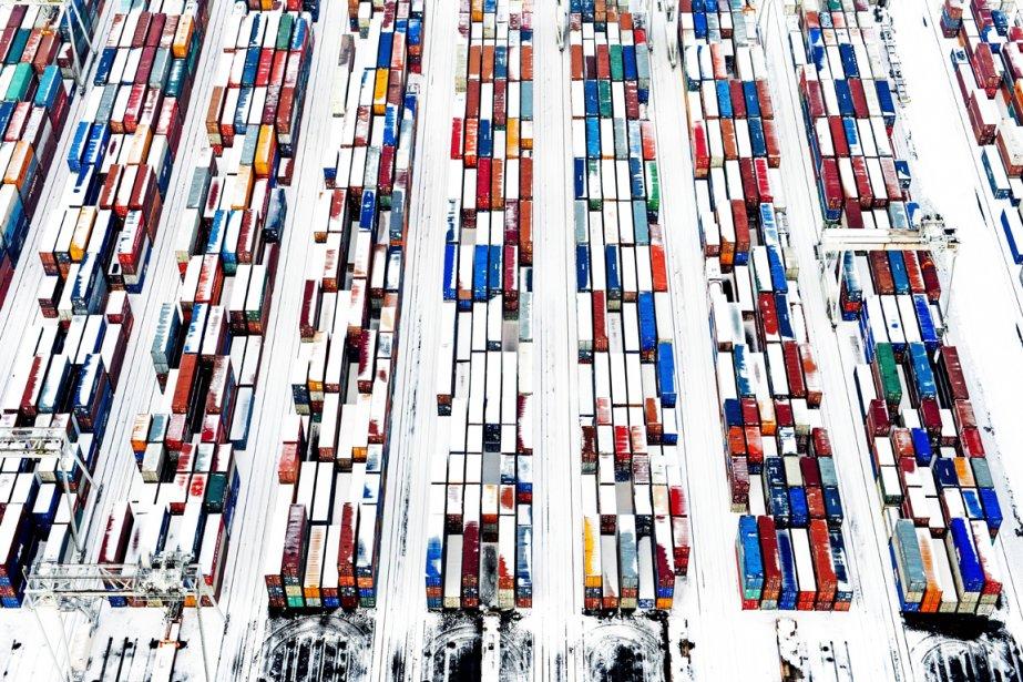 Conteneur recouvert de neige au port de Rotterdam | 18 janvier 2013
