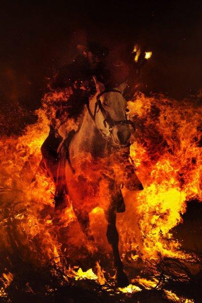 Un cavalier saute dans un feu de joie lors du festival de la St-Antoine à San Bartolome de Pinares en Espagne | 18 janvier 2013