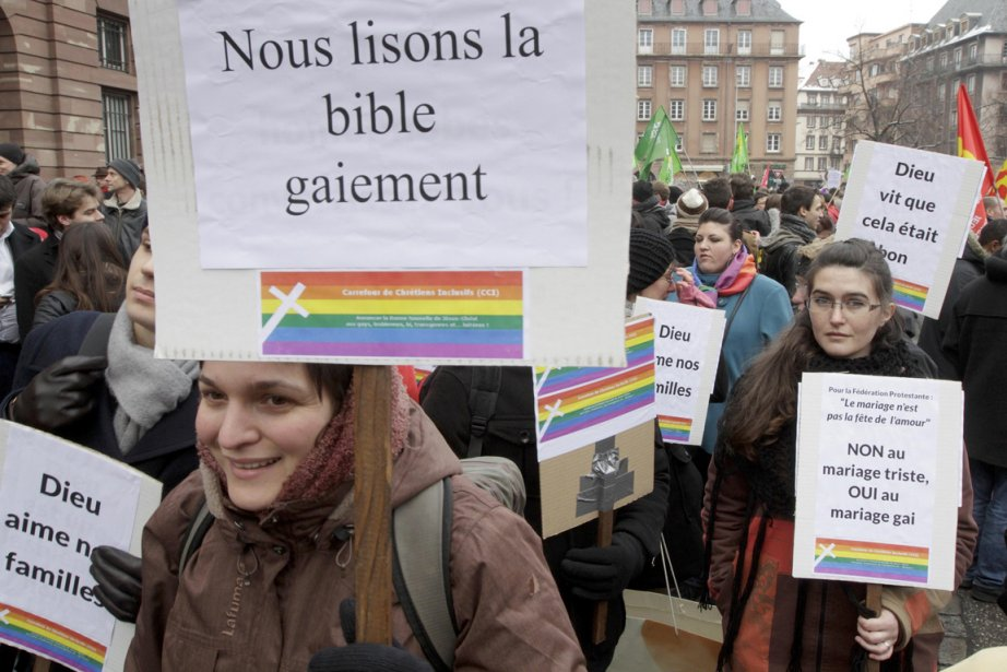 Les partisans du «mariage pour tous» auront eux... (Photo : Jean-Marc Loos, Reuters)