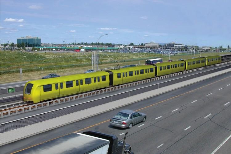 Le projet de système léger sur rail (SLR)... (Photomontage fourni par l'AMT)