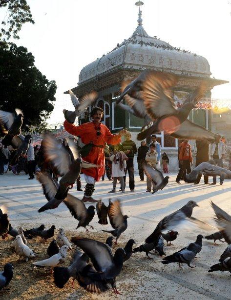 Un musulman pakistanais danse à l'occasion du 389e anniversaire de la mort de Mian Mir Sahib, à Lahore, au Pakistan. Ce saint est vénéré tant dans la religion sikhe que dans l'islam: en 1588, il s'est rendu à Amritsar pour poser la première pierre du temple d'Or, le plus sacré de la religion sikhe, aussi connu sous le nom de Sri Harminder Sahib. | 21 janvier 2013