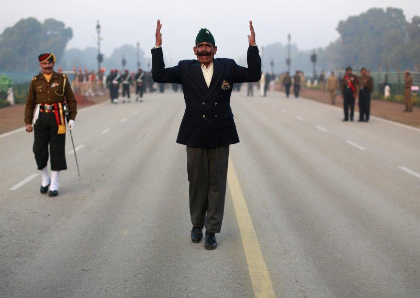 Répétition en prévision du défilé du jour de la République, à New Delhi, en Inde. Le jour de la République est fêté le 26 janvier. | 22 janvier 2013