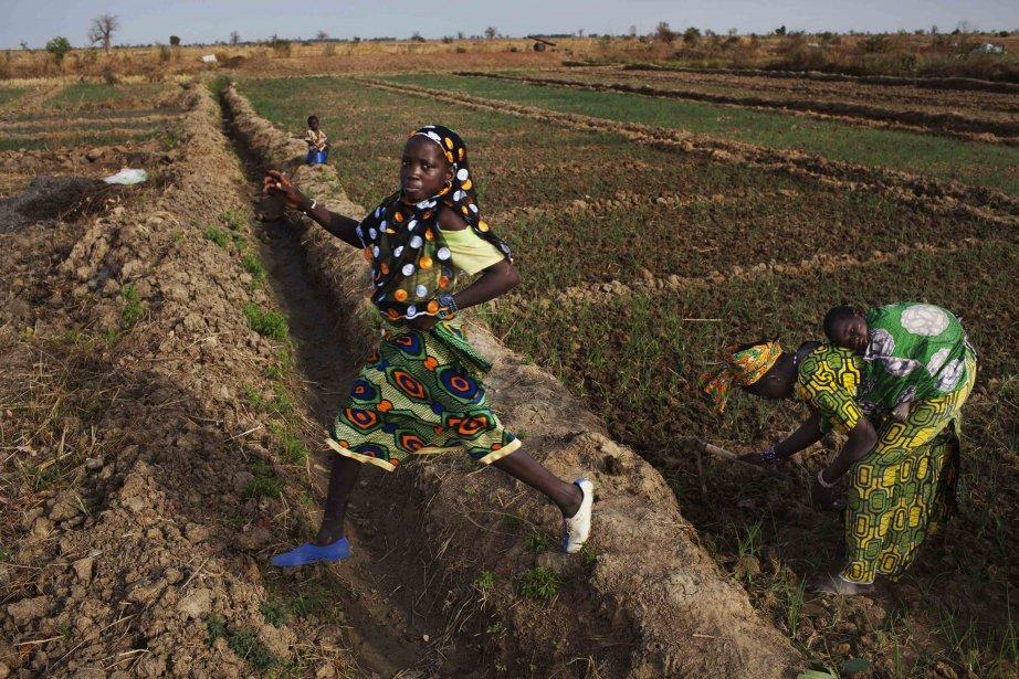 Djeneba Diarra enjambe un fossé dans un champ de haricots à Heremakono, au Mali. | 23 janvier 2013