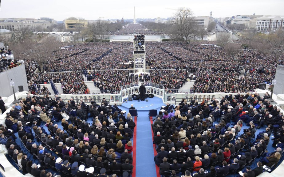 Vue d'ensemble de la foule lors du discours inaugural du Barack Obama à Washington. | 24 janvier 2013