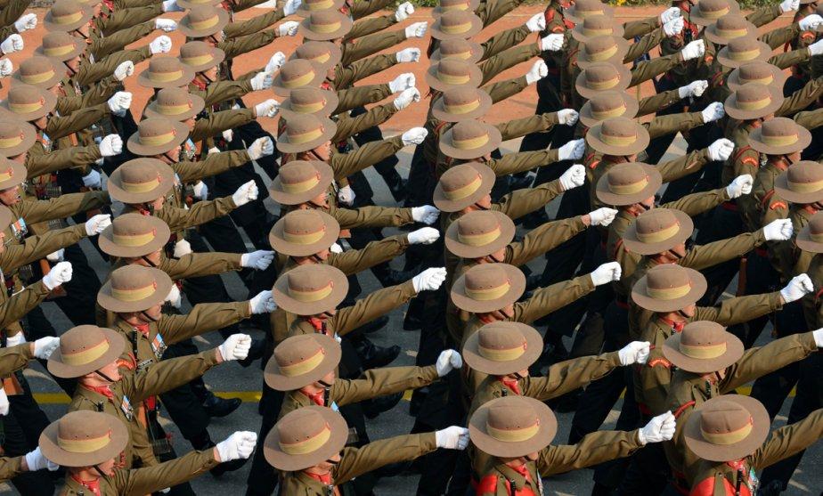 Des soldats indiens en parade lors de la journée de la république à New Delhi. | 24 janvier 2013
