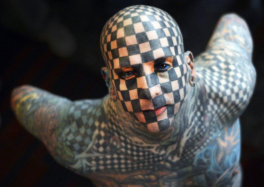L'Américain Matt Gone lors de l'ouverture de l'Expo Tattoo du Venezuela 2013, à Caracas. | 25 janvier 2013