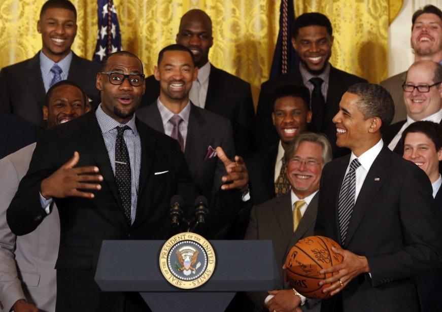 Le président américain, Barack Obama, accueille Lebron James et l'équipe du Heat de Miami à la Maison-Blanche. | 29 janvier 2013