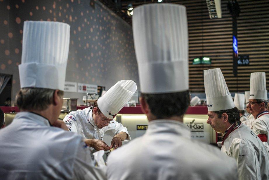 Thilbaut Ruggeri, de France, en compétition pour le Bocuse d'Or à Chassieu, en France. | 30 janvier 2013