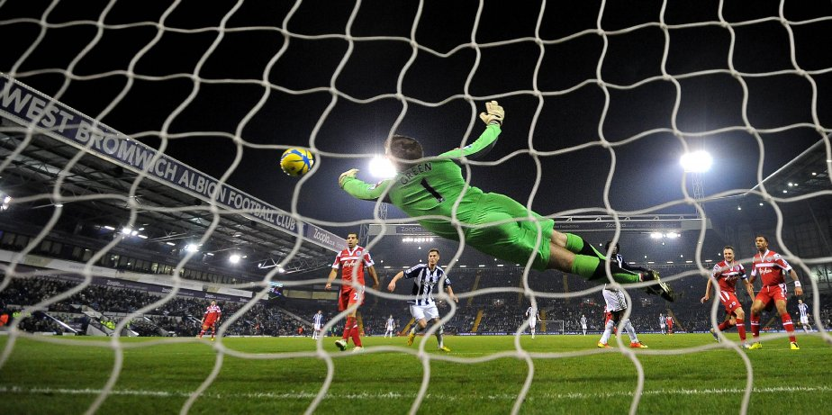 Le gardien de but des Queens Park Rangers Robert Green lors d'un tir au but. | 31 janvier 2013
