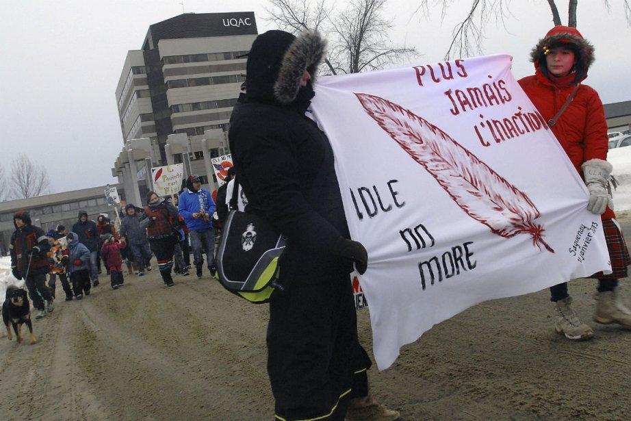 Une manifestation en appui à Idle No More,... (Photo Le Quotidien)