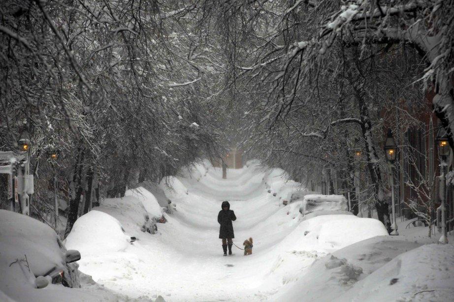 Une femme marche sur Beacon Hill à Boston, dans l'État... | 2013-02-09 00:00:00.000